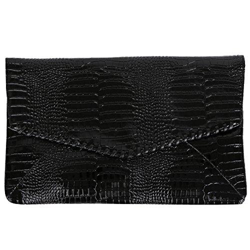(Zadaro Fashion Pouch Clutch Bag Python Pattern Wallet Envelope Package Leisure Hand Bag (Black))