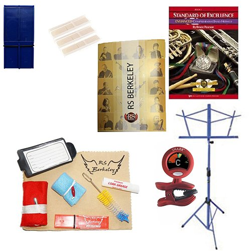 Tenor Saxophone Players Mega Pack - Essential Accessory Pack for the Saxophone: Includes: Saxophone Care & Cleaning Kit, Saxophone Reed Pack w/Reed Holder, Music Stand, Band Folder, Standard of Excellence Book 1 for Tenor Sax, & Tuner & Metronome by Tenor Saxophone Accessory Pack