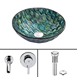 VIGO Oceania Glass Vessel Bathroom Sink and Olus Wall Mount Faucet with Pop Up, Chrome