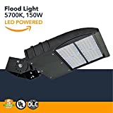 150W LED Flood Lights - 19500 Lumens, High Powered Outdoor LED Yoke Mount Flood Security Lights - Industrial or Commercial Security Flood Lighting - 5700K - (UL+DLC)