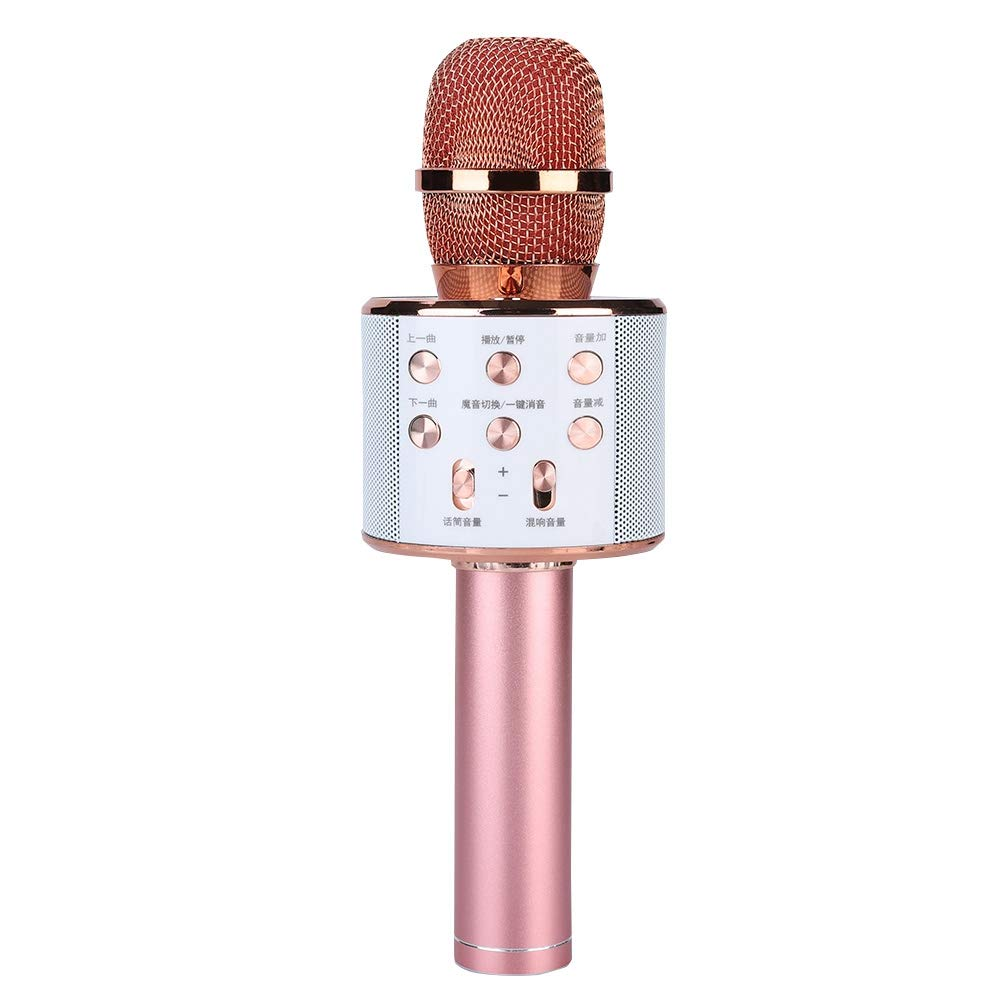ASHATA Karaoke Machine,Stereo Surrounding Sound Karaoke Bluetooth Microphone with Speaker Stereo Surrounding Sound Support U Disk/TF Card,Wireless Karaoke Microphone MIC with Long Play Time