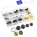 Yotako 40x 12mm Metal No Sewing Popper Button Snap Fasteners Kit, Press Studs Cap Eyelet Socket, Snap Setter Rivet Punch Tool for Leather Clothing Wallet
