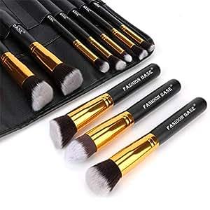 Makeup Brushes Set- Professional 10Pcs Premium Kabuki Essential Makeup Brushes with Case Prime Cosmetics Tools for Face Eye Cut Travel Makeup Bag Included (Golden)