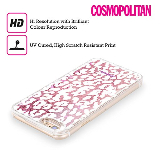 Official Cosmopolitan White Cheetah Animal Skin Patterns Pink Liquid Glitter Case Cover for Apple iPhone 5 / 5s / SE