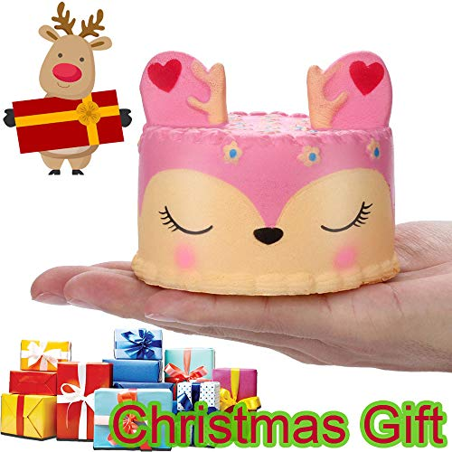 LtrottedJ Adorable Squishies Pink Deer Cake Slow Rising Fruit Scented Stress Relief Toys -