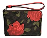 Coach Corner Zip Camo Rose Floral Print Small Wristlet Brown Red