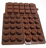 Yunko Set of 3pcs 15-cavity Chocolate Silicone Mold Ice Cube Candy Dessert Jello Mould Flower Gift Box