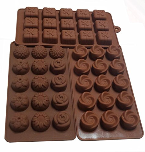 Box Chocolate Mold - Yunko Set of 3pcs 15-cavity Chocolate Silicone Mold Ice Cube Candy Dessert Jello Mould Flower Gift Box