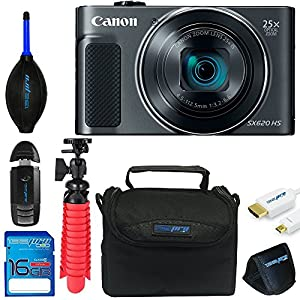 "Canon Powershot SX620 (Black) + 12"" Tripod + 16GB Memory Card + Pixi-Basic Accessory Bundle"