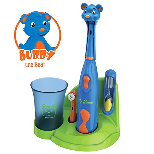 - Brusheez Children's Electronic Toothbrush Set – Includes Battery-Powered Toothbrush, 2 Brush Heads, Cute Animal Head Cover, 2-Minute Sand Timer, Rinse Cup, and Storage Base - Buddy the Bear
