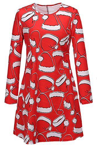 Herose Girls Cheery Christmas Hat Printed Mini Dress Loose Blouse XXL Festive Red (Cheap Mini Top Hats)