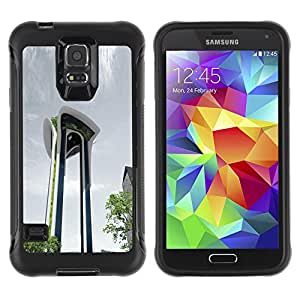 Pulsar Defender Series Tpu silicona Carcasa Funda Case para SAMSUNG Galaxy S5 V / i9600 / SM-G900F / SM-G900M / SM-G900A / SM-G900T / SM-G900W8 , Architecture Moden City Abstract Building