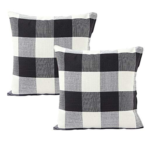 INSHERE Decorative Plaid Throw Pillow Covers Cotton Linen Classic Retro Checked Set of 2 Pillowcases for Home Sofa Bedroom Car, Black/White, 20 x 20 inch
