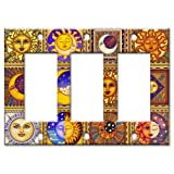 Celestials Theme Metal Wall Plate - Triple Gang Decora