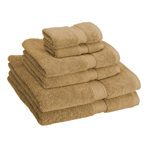 Superior 900 GSM Luxury Bathroom 6-Piece Towel Set, Made Long-Staple Combed Cotton, 2 Hotel & Spa Quality Washcloths, 2 Hand Towels, and 2 Bath Towels - Toast
