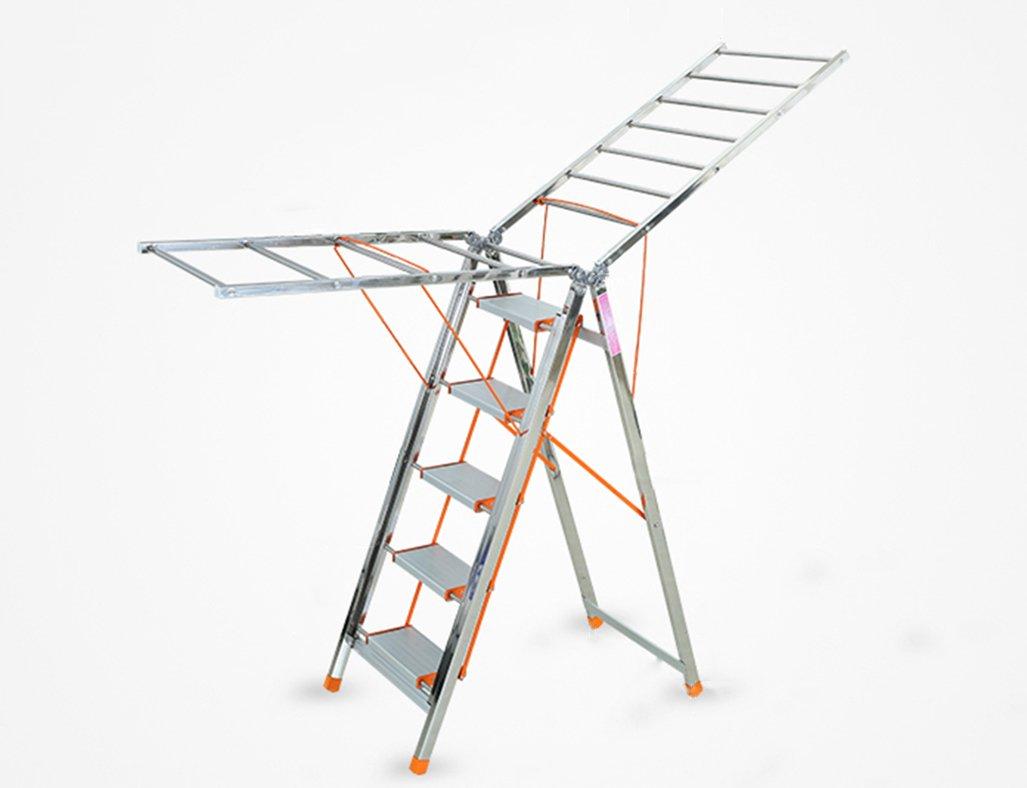 物干し台 物干しラック ホーム多機能ラダー乾燥ラックデュアルユースステンレスエアフォイル折りたたみフロアリング屋内服飾雑貨 ( 色 : 5 Steps ) B07CG9NJMH 5 Steps