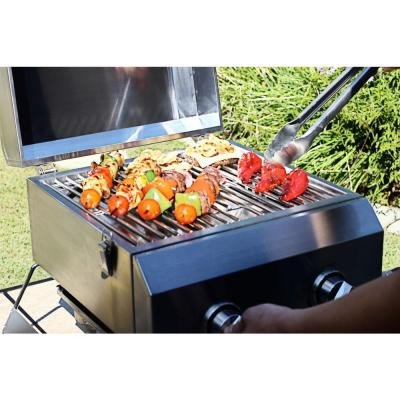 2-Burner Portable Quick And Easy Assembly Propane Gas Table Top Grill in Stainless Steel