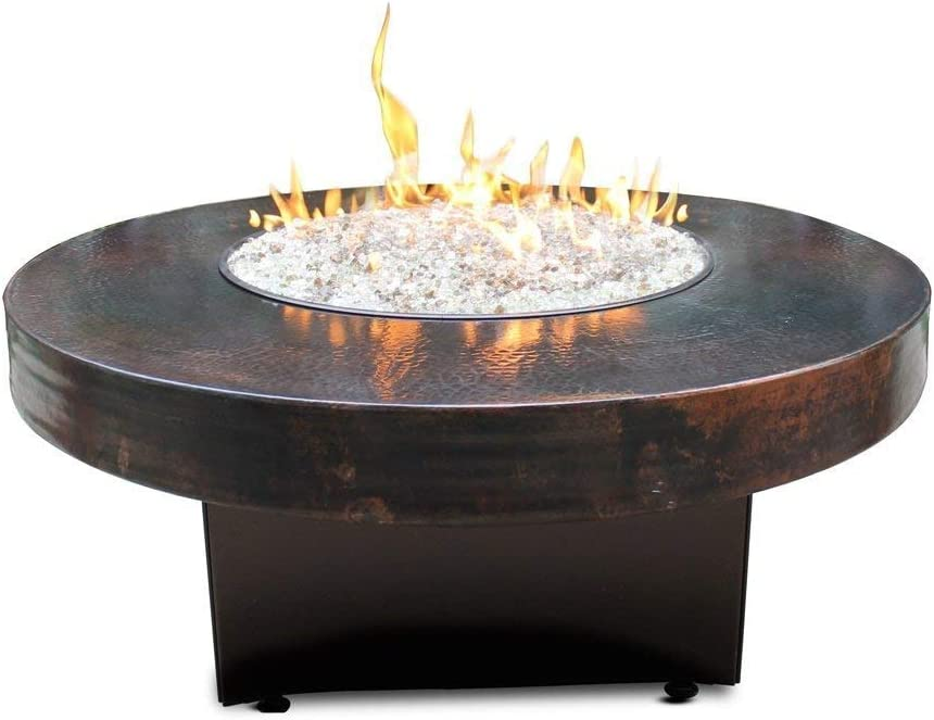 Amazon Com Oriflamme Outdoor Propane Fire Table 80 000 Btu Heat Output Hammered Copper 42 Round Garden Outdoor