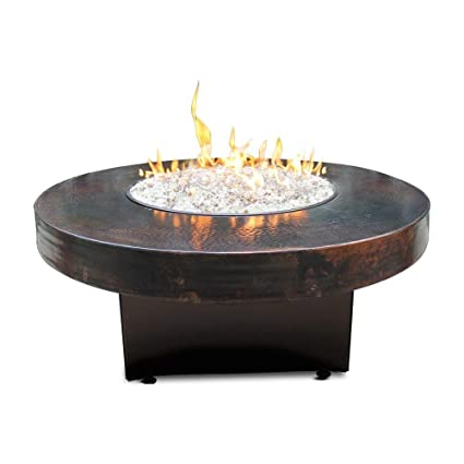"All Backyard Fun Hammered Copper 42"" Round Oriflamme Fire Table Gas Fire  Pit Table - Amazon.com: All Backyard Fun Hammered Copper 42"