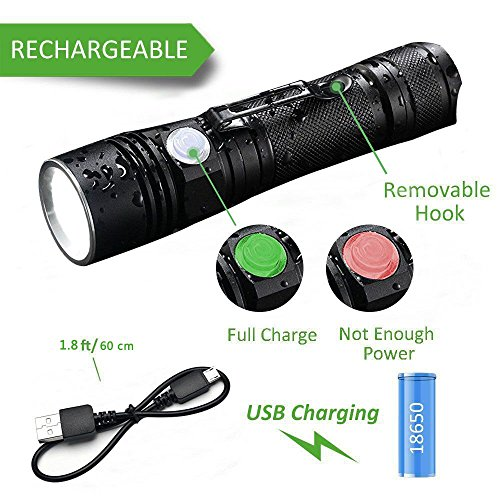 LED Flashlight Rechargeable, Akale LED Handheld Flashlight IP65 Water Resistant, (for Camping and Hiking) with Super Bright 500 Lumens CREE LED, 4 Light Modes, 18650 Battery Included