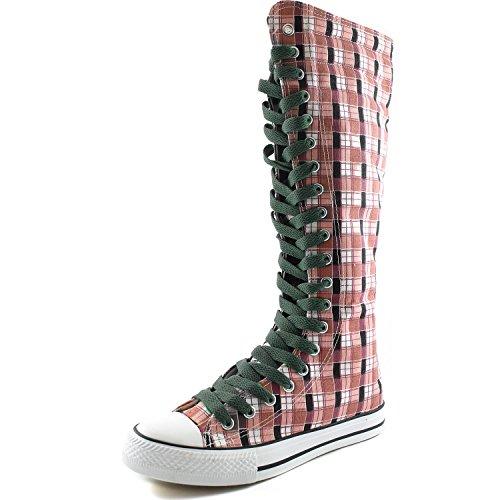 Dailyshoes Damesschoen Mid Kalf Lange Laarzen Casual Sneaker Punk Flat, Roze Wht Geruite Laarzen, Olijfgroen Kant
