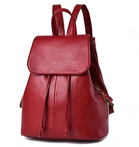 Regalo de navidad estudiantes de la escuela secundaria / estudiantes universitarios mochila impermeable mochila de viaje casual moda señora bolsa diaria negro black wine red
