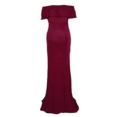 2fce1da22a1 Puseky Women Maternity Off Shoulder Ruffle Long Dress Banquet Photography  Prop  Amazon.co.uk  Clothing