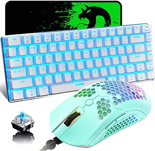 Gaming Keyboard and Mouse,3 in 1 Gaming Set,Blue LED Backlit Wired Gaming Keyboard,RGB Backlit 12000 DPI Lightweight Gaming Mouse with Honeycomb Shell,Large Mouse Pad for PC Game(Macaron Green)