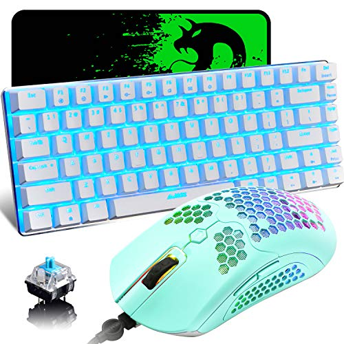 Gaming Keyboard and Mouse,3 in 1 Gaming Set,Blue LED Backlit Wired Gaming Keyboard,RGB Backlit 12000 DPI Lightweight…