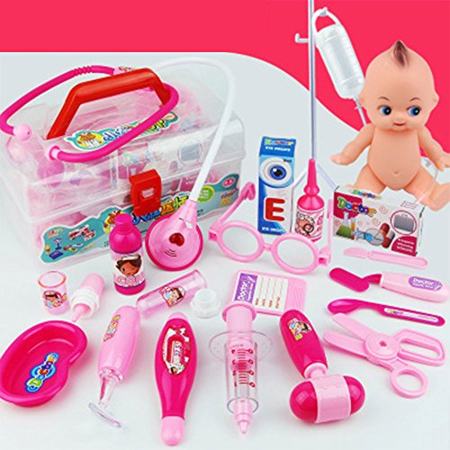 Qiyun 18Pcs Children Simulation Doctor Medicine Appliance Kit Pretend Play Toy Set 18 sets of baby powder +