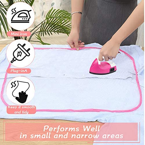 Mini Heat Press Machine with Mesh Cloth Pressing Cloth Pad, Ironing Protective Cloth Accessories, Portable Steam Iron Handheld Garment Iron for Clothes DIY Art and Craft