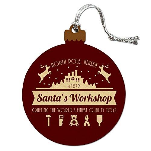 Workshop Santa Christmas Tree Decoration (Santa's Workshop Logo Christmas Toys North Pole Alaska Wood Christmas Tree Holiday Ornament)