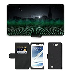 Hot Style Cell Phone Card Slot PU Leather Wallet Case // M00170162 Sillouette State Urban Skyscraper // Samsung Galaxy Note 2 II N7100