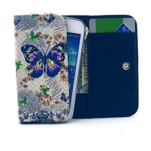 LG G2 VS980 Case,Universal Wallet Clutch Bag Carrying Fold Leather Smartphone Case with Buckle Card Slot for LG G2 VS980 4G LTE Verizon-Butterfly Flowers Style (Verizon 4g Lte Smartphone Cases)