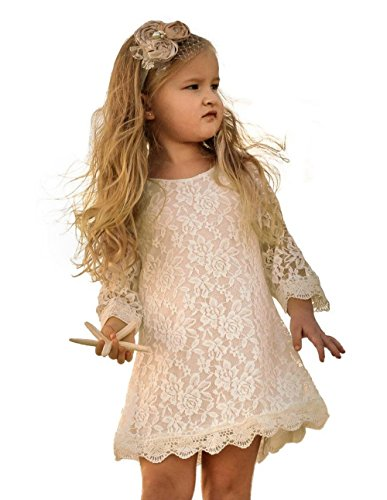 APRIL GIRL Flower Girl Dress, Lace Dress 3/4 Sleeve Dress (Off-White, 9-10 Years) (Birthday 3/4 Sleeve)