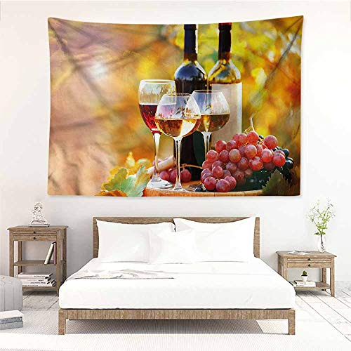 (Sunnyhome Decorative Tapestry,Wine Wine Barrel Grape Country,Wall Hanging Carpet Throw,W63x47L)