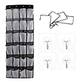 Jamal Large Size Over The Door Shoe Organizer,24 Large Pockets Hanging Shoe Organizer with 4 Steel Hooks and 4 Free Trace Free Silicone Hook Oxford 600D (Black)
