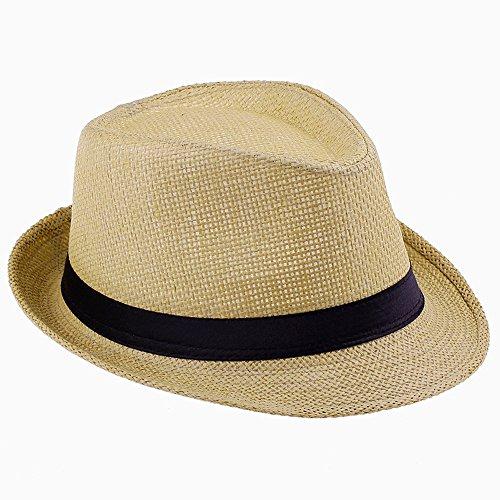 Elee Unisex Kids Straw Trilby Fedora Cap Jazz Hat Short Brim Sunat (#4 Beige)