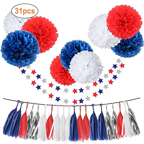 31pcs Tissue Paper Pom Pom Silver Navy Blue Red White Tassel Garland Party Decorations 10