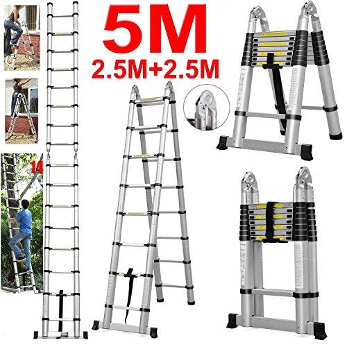 Vlio 5M Bentley DIY Aluminum Alloy Telescopic Folding Extended-able Extension Ladder EN131 (5M Telescopic Folding)