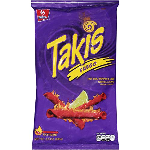 Takis Fuego Hot Chili Pepper & Lime Tortilla Chips, 9.9-Ounce Bag (1 Pack) - SET OF 4