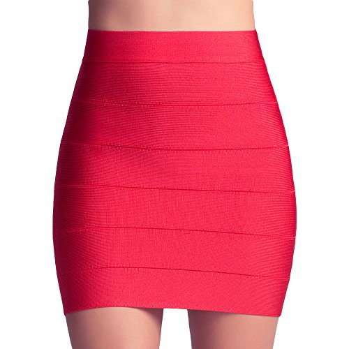 High Waist Mini (HLBandage Solid High Waist Mini Bandage Pencil Skirt (XS, Red))
