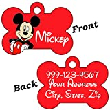 uDesignUSA Disney Double Sided Pet Id Tags for Dogs & Cats Personalized for Your Pet (Mickey Mouse, Bone Shaped)