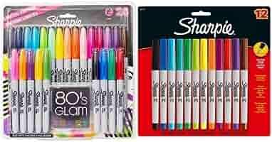 Sharpie - Pack 24 rotuladores permanentes, colores variados + 12 rotuladores de punta fina, colores variados: Amazon.es: Oficina y papelería