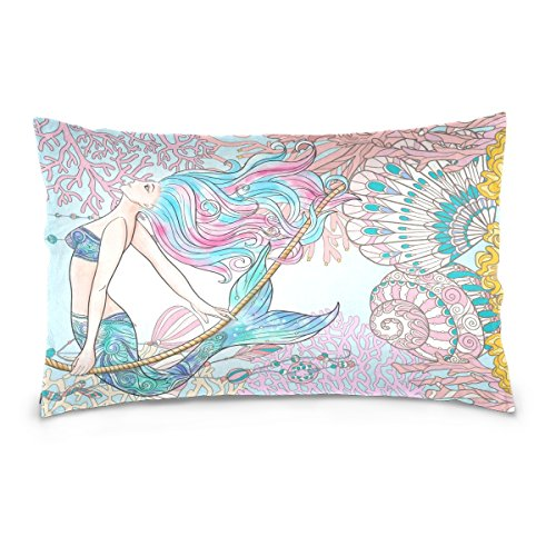 ALAZA Sea Ocean Animal Cotton Standard Size Pillowcase 26 X 20 Inches Twin Sides, Fish Mermaid Pillow Case Sham Cover Protector Decorative for Couch Ded (Sham Mermaids Pillow)
