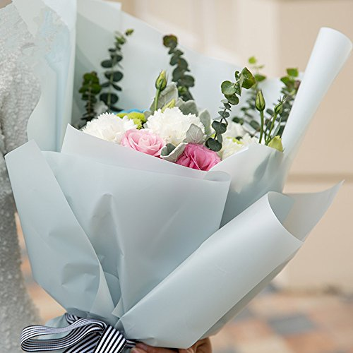 Coffee 20 Sheets 23.6x23.6 inch BBC Korean Style Double Colors Craft Paper Flower Bouquet Wrapping Paper Floral Wraps Supplies