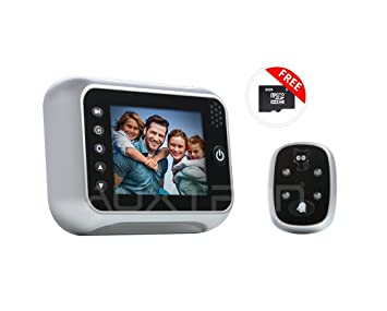 Auxtron 3.5'' HD Digital Door Camera / Peephole Viewer, 120 Degree Wide Angle with 24 hr Photo & Video surveillance with Date/Time Stamping, Upto 32GB Storage, 32 Type Doorbell Tunes,  at amazon