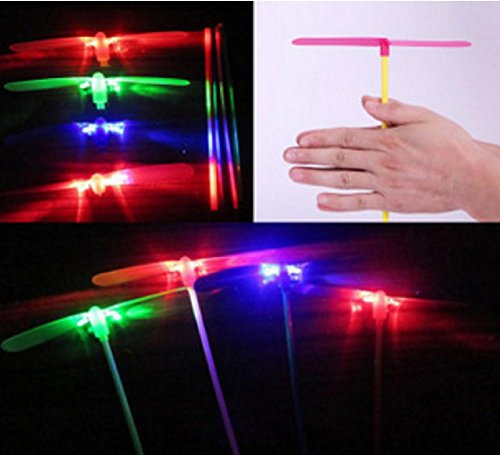 Zhhiwen 4pcs Glowing LED Light-up Bamboo-Copter Plastic Dragonfly Toy Gift for Children Recollection of Childhood
