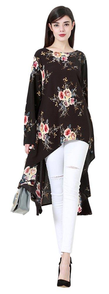 Ababalaya Women's Casual O-Neck Long Sleeve Floral Ruffle Irregular Hem Blouse Top M-6XL,Black,Tag 3XL = US Size 12-14