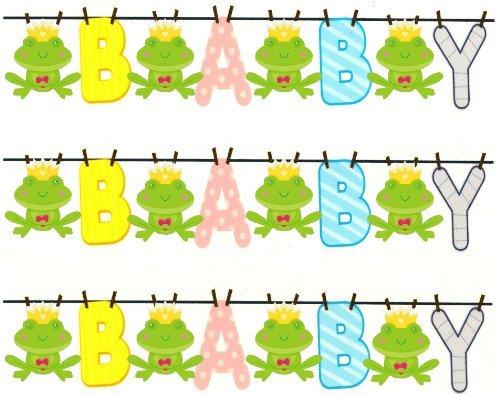 3 ~ BABY Shower Clothesline & Frog Designer Strip ~ Edible Cake / Cupcake Topper!!!